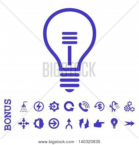 Lamp Bulb glyph icon. Image style is a flat pictogram symbol, violet color, white background.