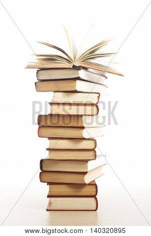 Stack of books isolated on white background. Education concept. Back to school