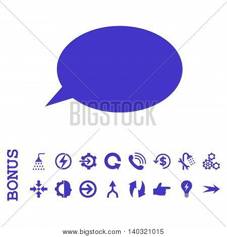 Message Cloud glyph icon. Image style is a flat pictogram symbol, violet color, white background.