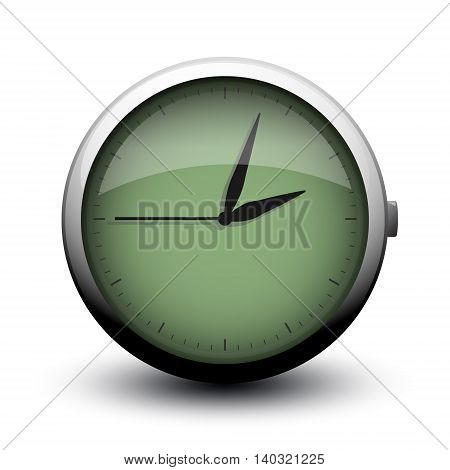 large clock icon on button on white background