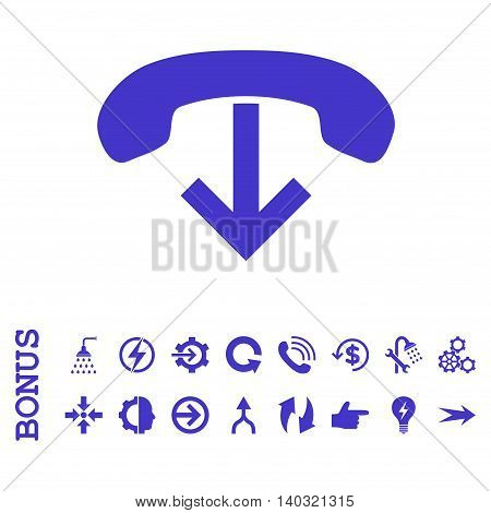 Phone Hang Up glyph icon. Image style is a flat iconic symbol, violet color, white background.