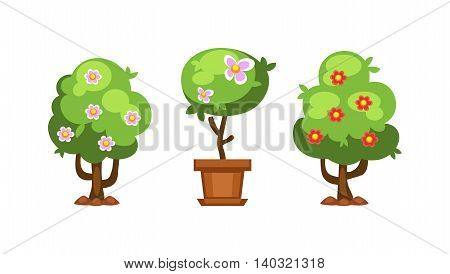 Flat nature plants green ecology flat plants and tree. vector illustration