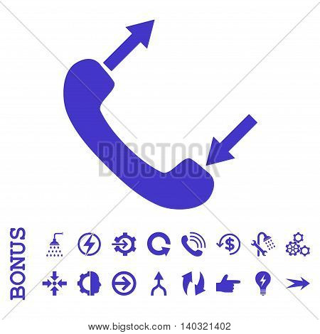 Phone Talking glyph icon. Image style is a flat pictogram symbol, violet color, white background.