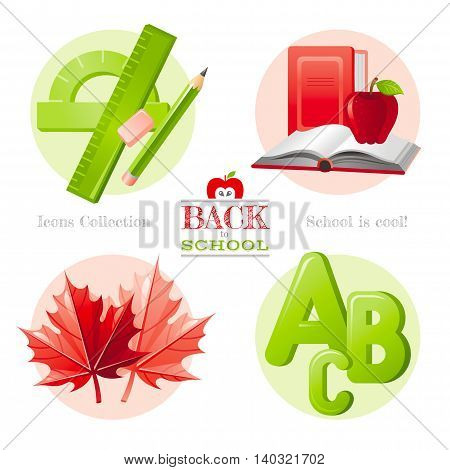 Vector illustration of back to school icon set with concept abstract symbols in elegant modern style. Template logo and education object - pencil, ruler, protractor, textbook, apple, maple leaf, abc