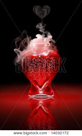 Abra la botella en forma de corazón de rojo, burbujear, fumar, love potion sobre un fondo negro
