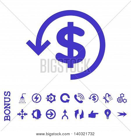 Refund glyph icon. Image style is a flat pictogram symbol, violet color, white background.