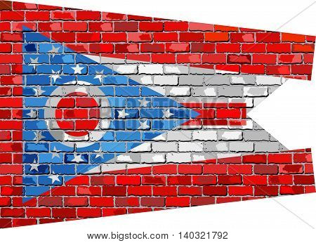 The flag of the state of Ohio on brick textured background,