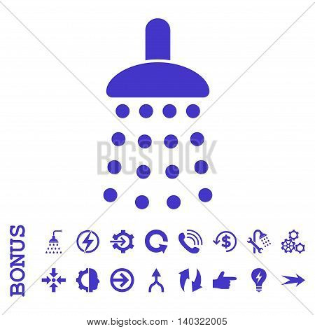 Shower glyph icon. Image style is a flat iconic symbol, violet color, white background.