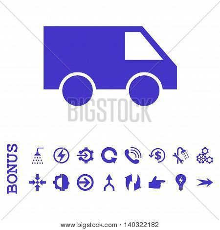 Van glyph icon. Image style is a flat iconic symbol, violet color, white background.