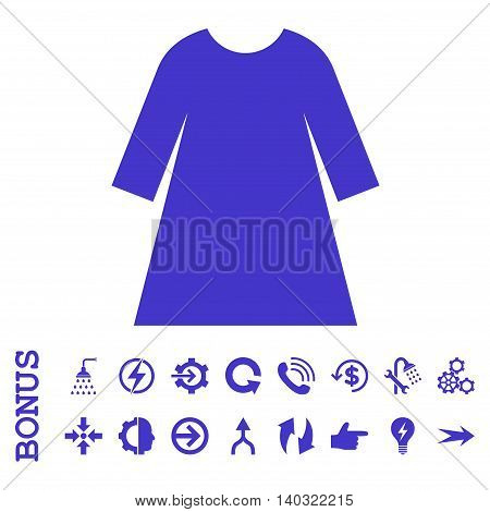 Woman Dress glyph icon. Image style is a flat pictogram symbol, violet color, white background.
