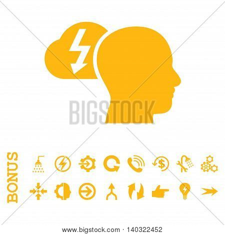 Brainstorming glyph icon. Image style is a flat iconic symbol, yellow color, white background.