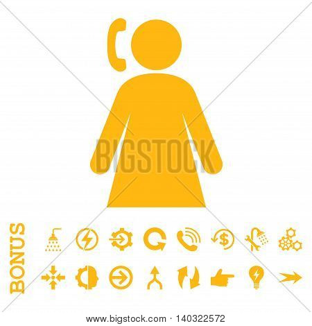 Calling Woman glyph icon. Image style is a flat pictogram symbol, yellow color, white background.
