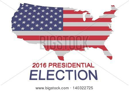 2016 US Presidential Election: Stars and Stripes map of the USA 3d illustration