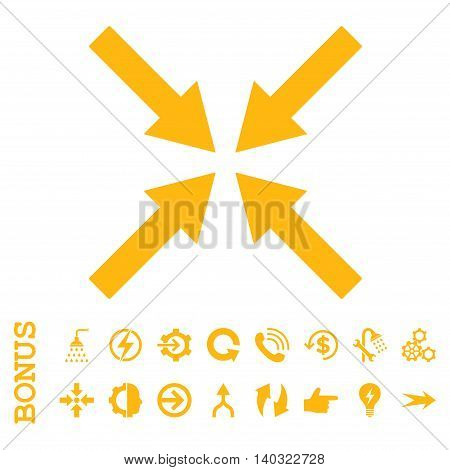 Center Arrows glyph icon. Image style is a flat iconic symbol, yellow color, white background.