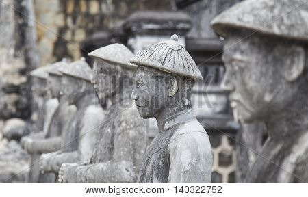 Close up of the face of stone statue, Vietnamese sculptures guarding the tomb of the late Kings