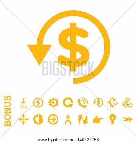 Chargeback glyph icon. Image style is a flat pictogram symbol, yellow color, white background.