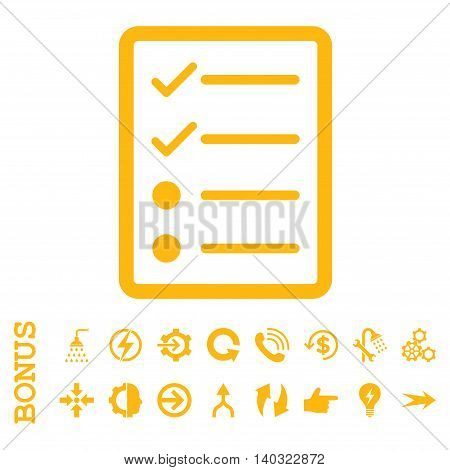 Checklist Page glyph icon. Image style is a flat pictogram symbol, yellow color, white background.