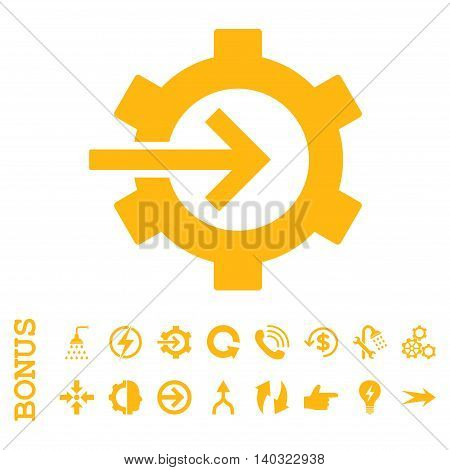 Cog Integration glyph icon. Image style is a flat pictogram symbol, yellow color, white background.