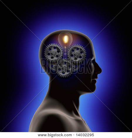 profile of a man with gears and a light bulb inside his head