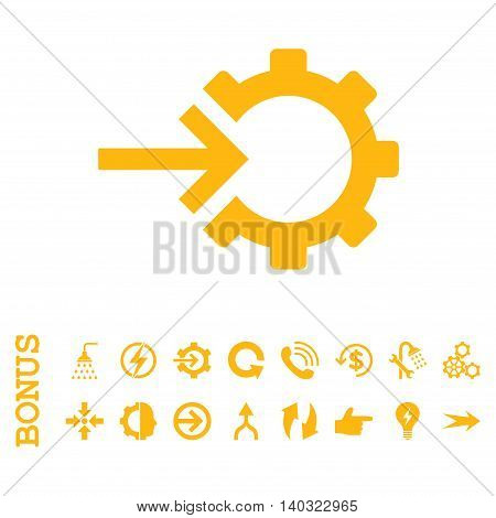 Cog Integration glyph icon. Image style is a flat iconic symbol, yellow color, white background.