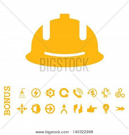 Construction Helmet glyph icon. Image style is a flat iconic symbol, yellow color, white background.