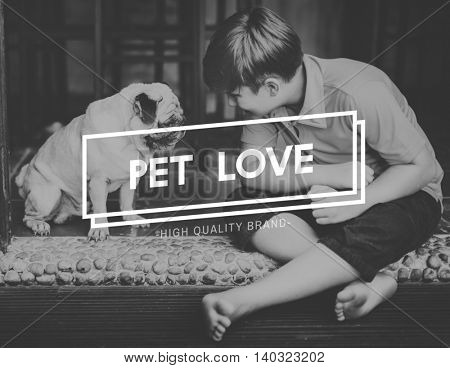 Kid Dog Pet Love Concept