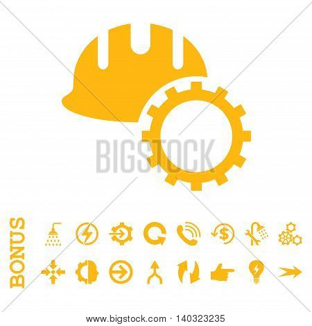 Development Hardhat glyph icon. Image style is a flat pictogram symbol, yellow color, white background.