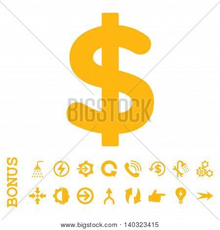 Dollar glyph icon. Image style is a flat iconic symbol, yellow color, white background.