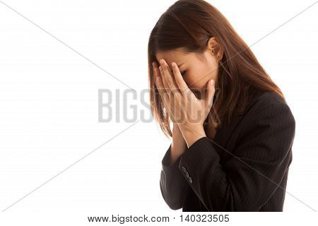 Sad Young Asian Businesswoman Cry With Palm To Face.