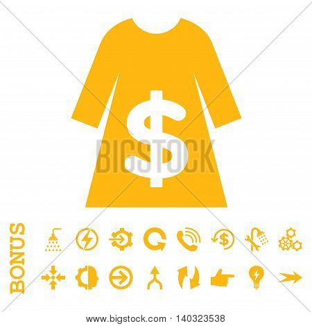 Dress Sale glyph icon. Image style is a flat iconic symbol, yellow color, white background.