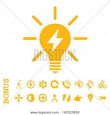 Electric Light Bulb glyph icon. Image style is a flat pictogram symbol, yellow color, white background.