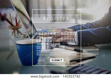 Register Application Apply File List Membership Concept