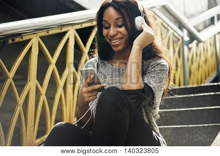 Woman Listening Music Earphones Happiness Concept