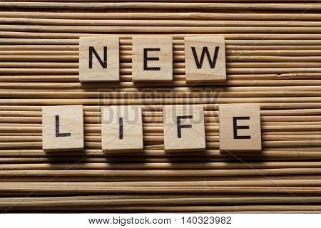 New Life text on a wooden cubes. Wood Abc