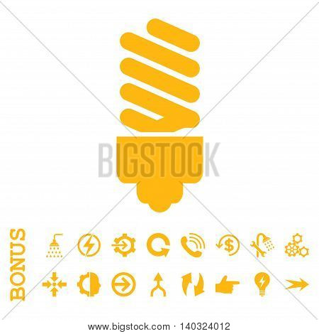 Fluorescent Bulb glyph icon. Image style is a flat iconic symbol, yellow color, white background.