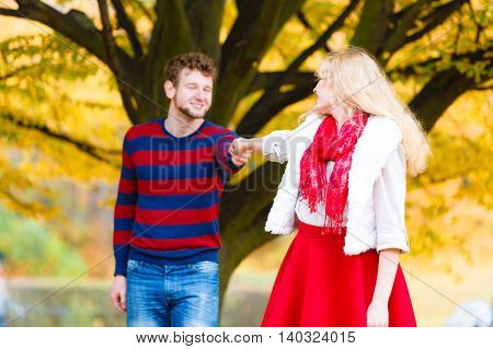 Young Couple Meet In Park On Romantic Date.