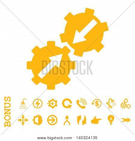 Gear Integration glyph icon. Image style is a flat pictogram symbol, yellow color, white background.