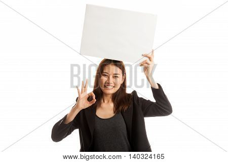 Young Asian Business Woman Show Ok With  White Blank Sign.