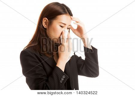 Young Asian Woman Got Sick And Flu.