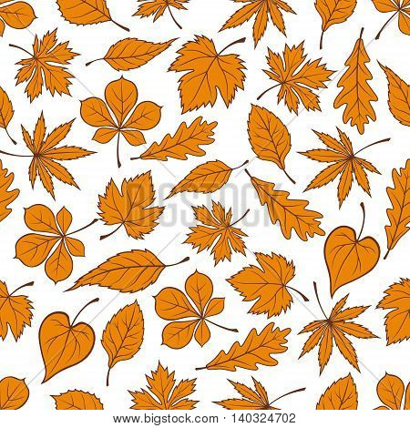 Yellow falling leaves seamless pattern background. Autumn foliage wallpaper. Vector elements of maple, birch, aspen, elm, poplar