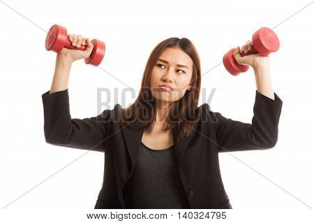 Exhausted Asian Business Woman With Dumbbells.