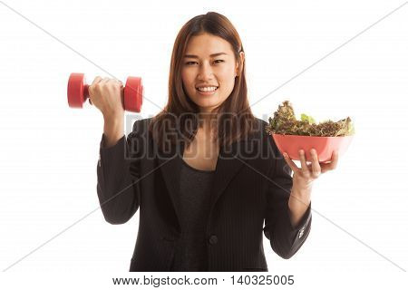 Healthy Asian Business Woman With Dumbbells And Salad.
