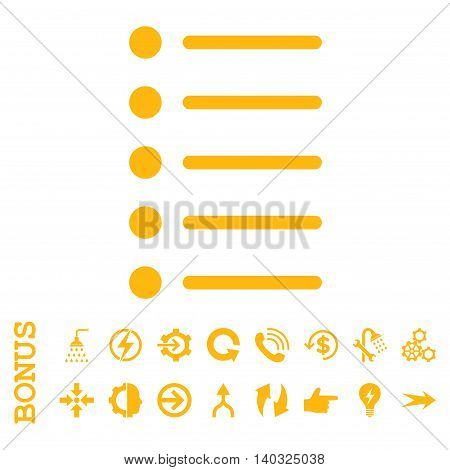 Items glyph icon. Image style is a flat pictogram symbol, yellow color, white background.