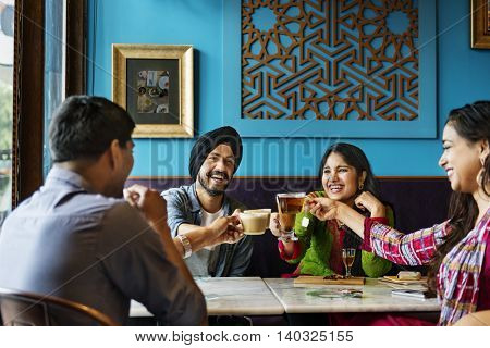 Friends Relaxed Happy Coffee Meeting Concept