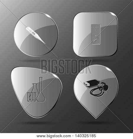 4 images: thermometer, glass with tablets, chemical test tubes, blood pressure. Medical set. Glass buttons. Vector illustration icon.
