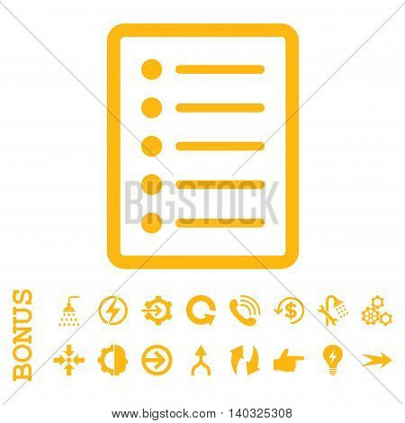 List Page glyph icon. Image style is a flat iconic symbol, yellow color, white background.