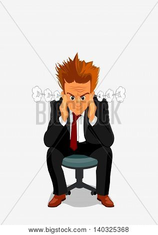 Young businessman exploding with anger and rage. Manager man with angry face and messy hair sitting on chair with hands at head