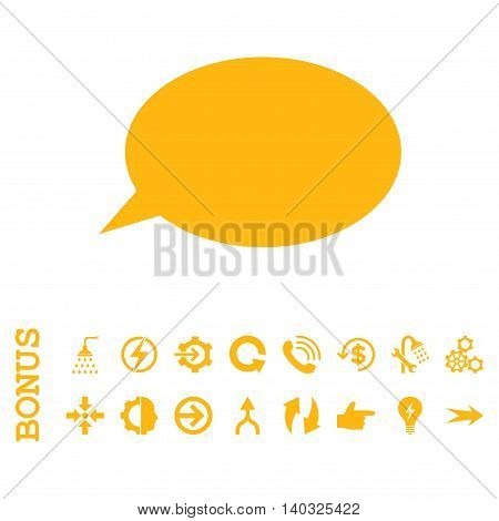 Message Cloud glyph icon. Image style is a flat iconic symbol, yellow color, white background.