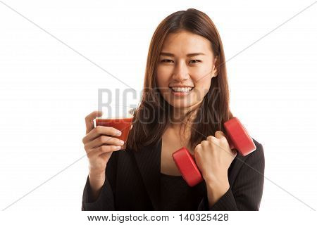 Healthy Asian Woman With Dumbbell And  Tomato Juice.
