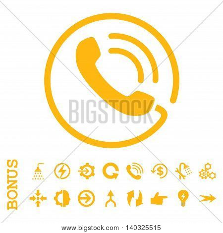 Phone Call glyph icon. Image style is a flat pictogram symbol, yellow color, white background.